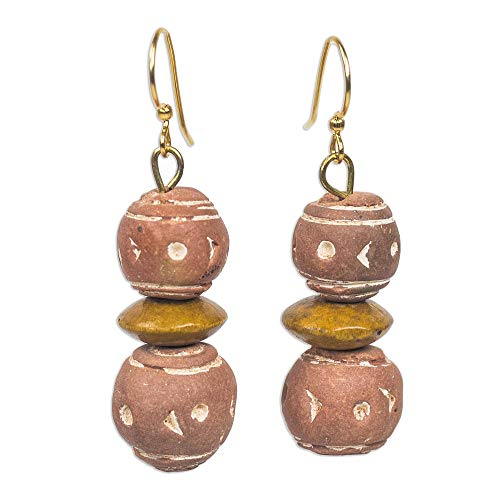 NOVICA Wood Dangle Earrings, Terracotta Splendor'