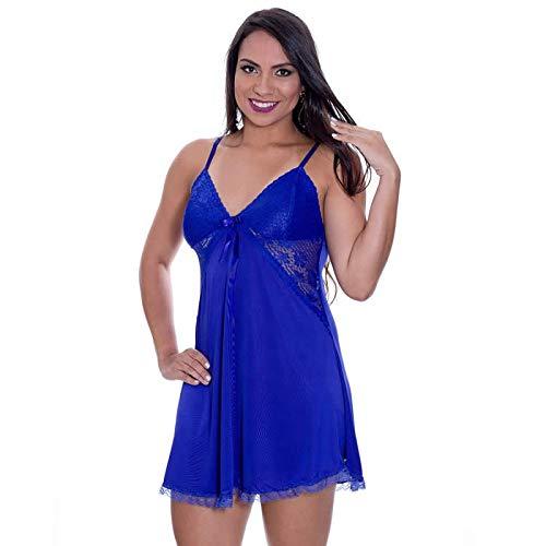 Camisola Azul Em Liganete E Renda Com Calcinha Francielly - Ms1896