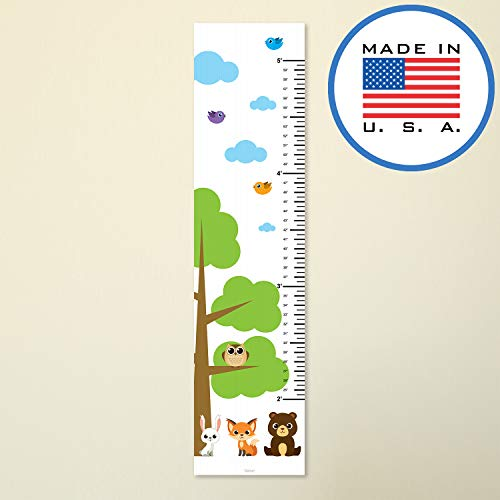 321Done Growth Chart Woodland Forest Animals with Tree Fox Owl Rabbit Bear, Kids Hanging Height Ruler Vinyl Banner, Nursery Wall Decor, White Sky
