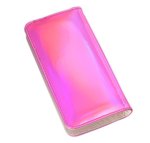 - Hologram Slim PU Leather Wallet with Zipper Long Clutch Wallet Purse for Women (Pink)