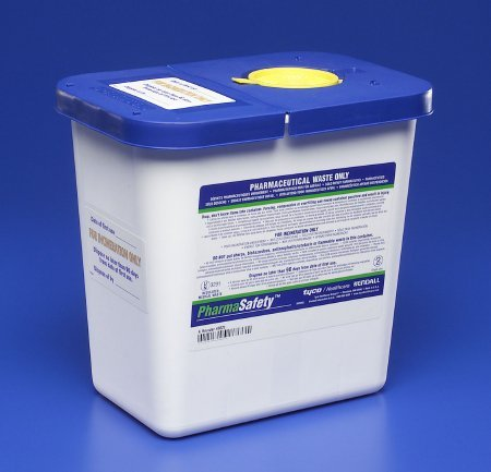 MCK88202800 - Covidien Pharmaceutical Waste Container Pharmasafety 1-Piece 10H X 10.5W X 7.25D Inch White Base Hinged Lid