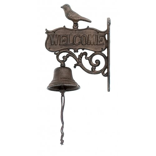 Bell Welcome Plaque (Cast Iron Hanging Bird Welcome Bell)