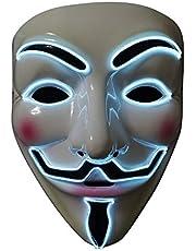 SOUTHSKY LED Masker V voor Vendetta Masker EL-draad Oplichten voor Halloween Kostuum Cosplay Feest (wit gezicht blauw neonlicht) (wit)