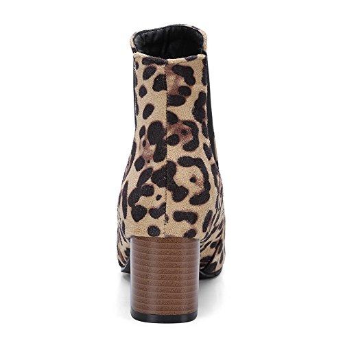 ANDku01954 - Sandali con Zeppa Donna, Beige (Leopard), 35