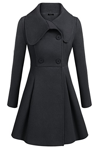 Women's Wool Trench Coat Lapel Wrap Swing Winter Long (Wool Swing Coat)