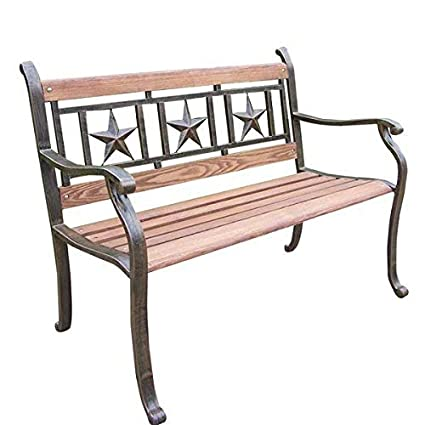 Amazon Com Oakland Living Triple Star Metal And Wood Park Bench