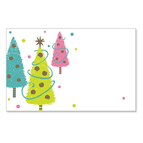 Golden Wishes Christmas Trees Enclosure Cards / Gift Tags - 3 1/2 x 2 1/4 (50)