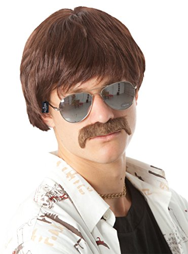 ALLAURA Ron Burgundy Sonny Bono 70s Detective Costume Brown Wig and Moustache (Womens Anchorman Costume)