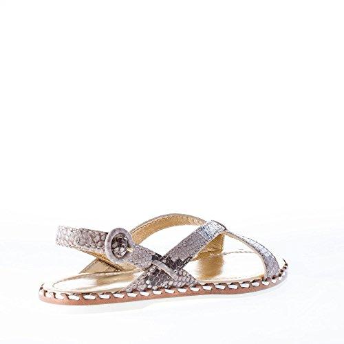 Roccia Shoe Donna In Basso Stampa Sandalo Beige Pitone Car Pelle 8gxwT6Tq7