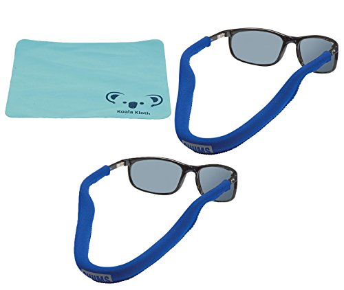 Chums Floating Neoprene Eyewear Retainer Sunglass Strap | Eyeglass & Glasses Float | Water Sports Holder Keeper Lanyard | 2pk Bundle + Cloth, - Small For Heads Men Sunglasses