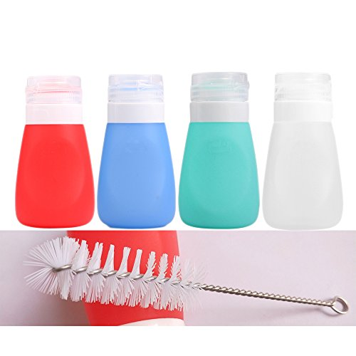 - Squeeze Salad Dressing Bottles with Cleaning Brush | Portable Sauce Bottles Condiment Bottles | Dressing to Go for Lunch | 2 OZ, Set of 4 | Food-grade Silicone, BPA Free