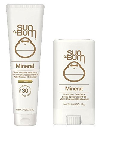 Sun Bum Mineral Sun Care Pack - Mineral Tinted SPF 30 Face Lotion & Mineral Tinted SPF 50 Face Stick - Complete healthy face skincare package