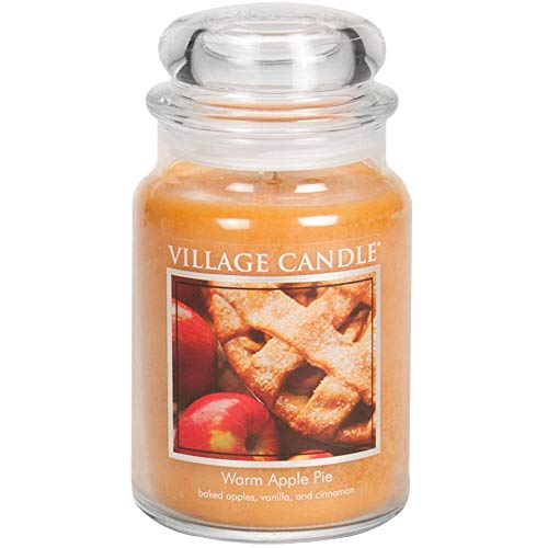 (Village Candle Warm Apple Pie 26 oz Glass Jar Scented Candle, Large)