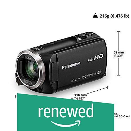 Renewed  Panasonic HC V270 Super Zoom Full HD Camcorder, Black