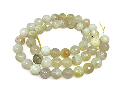 Natural Faceted Yellow Fire Agate Gemsstone 8mm Round Loose Gems Stone Beads 15 Inch for Jewelry Craft Making GH3-8