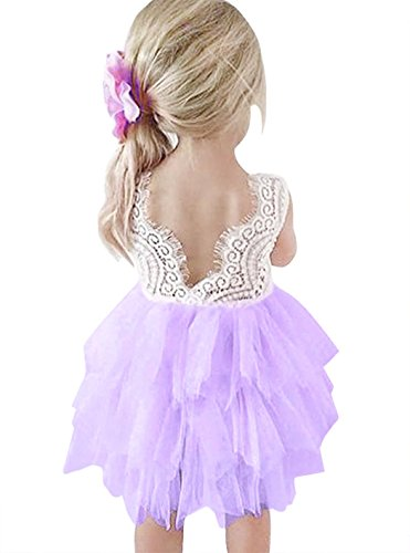 AmzBarley Little Girl Backless Lace Tulle Tutu Dress for Party Age 1-2 Years Purple Size 2T
