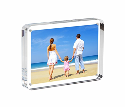 NIUBEE Acrylic Picture Frames 5x7, Double Sided Magnetic Frameless Desktop Photo Greeting Card Display (24mm (Panel Photo Christmas Cards)
