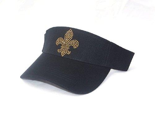 Gold Fleur De Lis Tennis Golf Black Sun Visor Hat