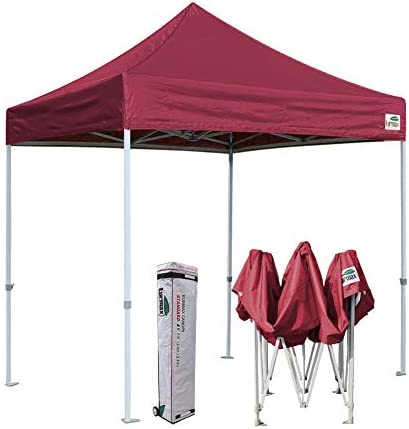 Eurmax 8×8 Feet Ez Pop up Canopy, Outdoor Canopies Instant Party Tent, Commercial Gazebo Bonus Roller Bag Burgundy