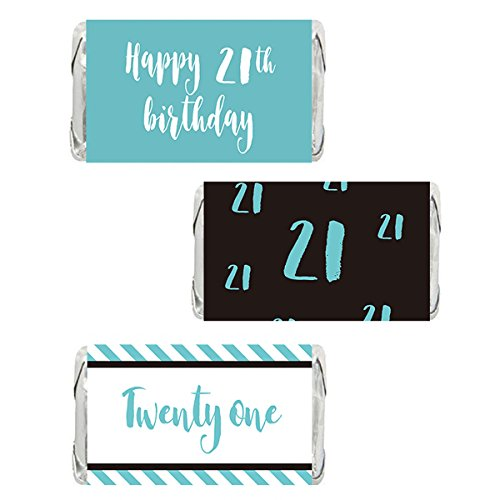Blue 21st Birthday Miniatures Candy Bar Wrapper Stickers, Girls Party Favor Labels, 54 Count