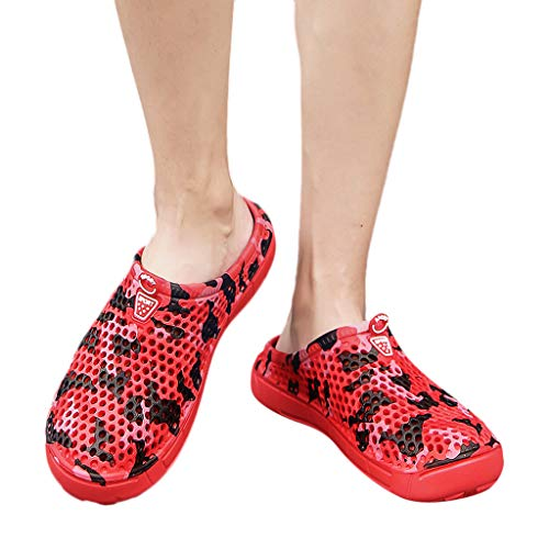 Camouflage Garden Clogs Shoes Sandals Slippers, Casual Men's Flats Platform Flip Flops Antiskid Beach Shoes (8.5, Red) from HTHJSCO