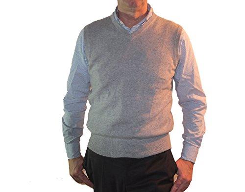 Pullover Cashmere V Para Hombre Cachemira Gris Jersey 100 1st American Pura En Cuello Claro Chaleco TqR7S