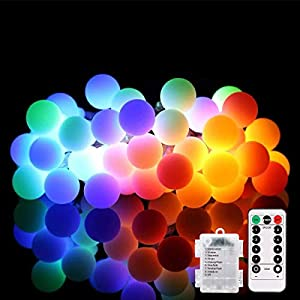 String Lights, 18ft 50 LED Ball Lights with Remote,LED String Light Waterproof, Globe String Lights Battery Powered 8…