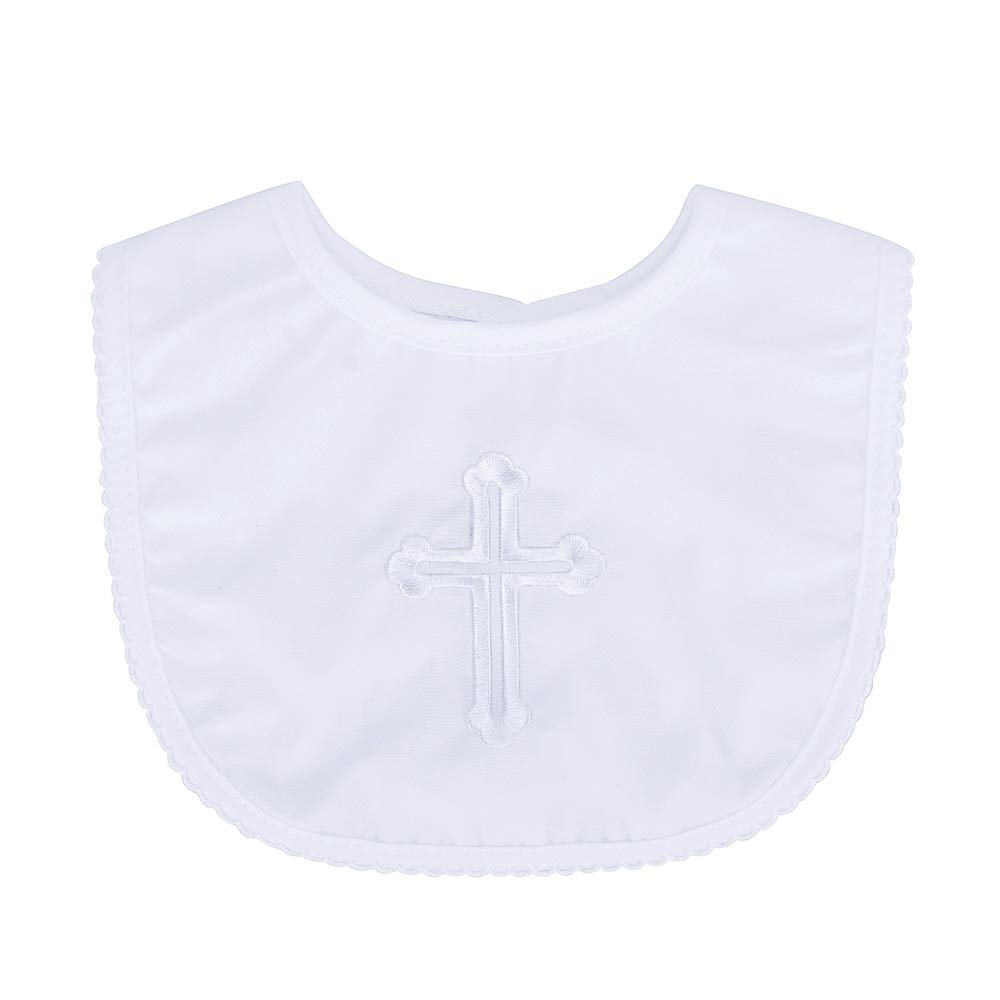 Infant Baby Boys Girls Christening Baptism Outfits Embroidered Cross Bib