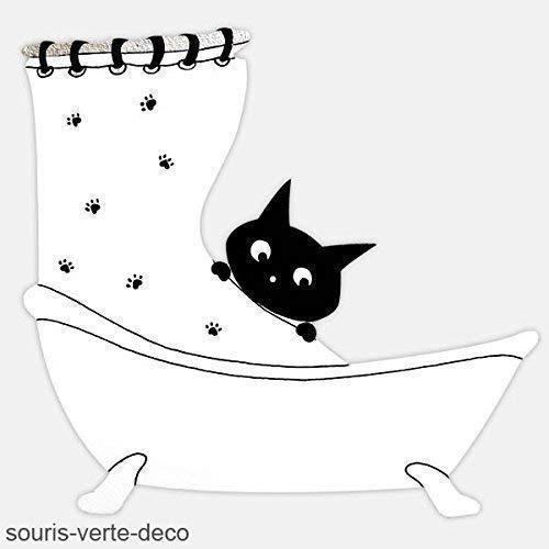 Plaque de porte de salle de bains humoristique chat, déco salle de bains, panneau de porte, catlovers, coloris et détails personnalisables, signalétique salle de bains, panneau humoristique