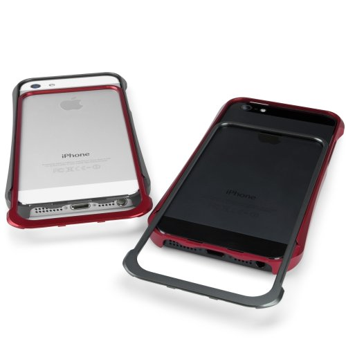 BoxWave Quantum iPhone 5Fall–PREMIUM Aluminium Metall Bumper Sleek Case, kein schrauben notwendig für einfache Montage–iPhone 5Schutzhüllen und Fällen (Crimson Rot)