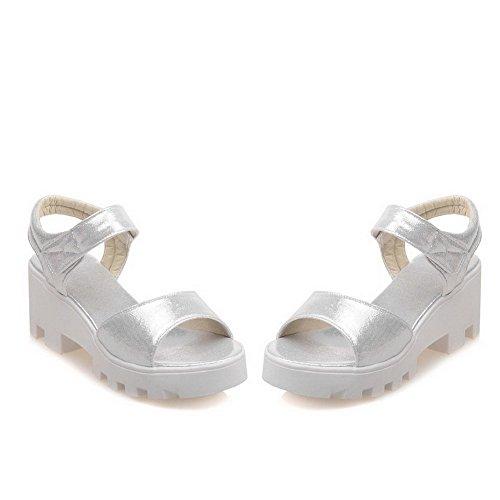 Odomolor Mujeres Sólido Sintético Tacón Medio Puntera Abierta Velcro Sandalias de vestir Plateado