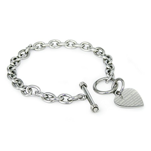 Stainless Steel Love Never Fails 1 Corinthians 13: 6-8 Heart Charm, Bracelet Only (Tiffany Heart Toggle Bracelet)