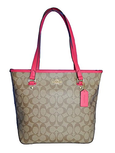 coach-signature-zip-top-tote-khaki-pink