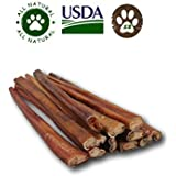 Top Dog Chews 12-inch Standard Bully Sticks (12 Pack). Free Range, Grass Fed Angus Beef - Hand-Inspected