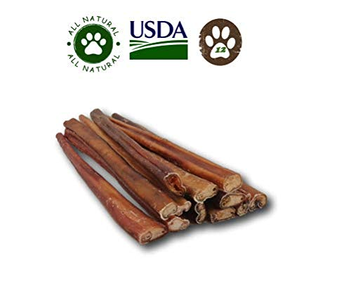 Top Dog Chews 12-inch Standard Bully Sticks by 12 Pack . Free Range, Grass Fed Angus Beef – Hand-Inspected and USDA FDA Approved.
