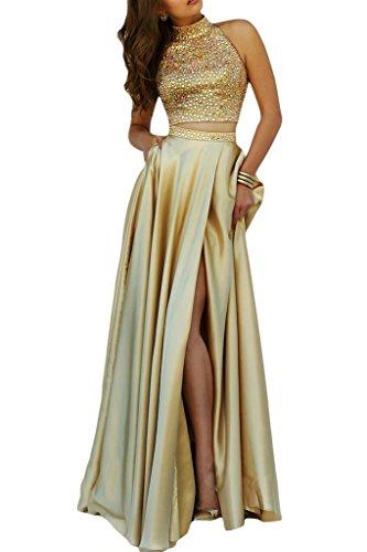 da colletto aizati due da sera Ivydressing Donna vestito Oro Bete abito kraftool festa p0OgnZ