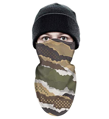 Mimetic Mask - Adult Ski face Mask mesh Cloth Ski Face Mask Breathable Fabric Motorcycle Riding Tactical Winter Face Mask Abstract Mimetic Dotted Camouflage