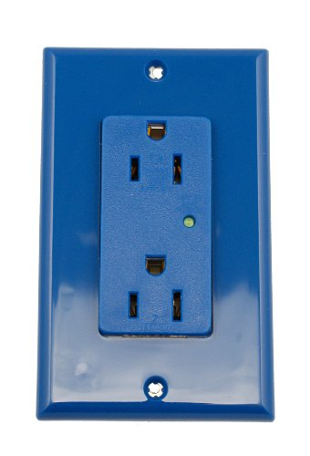 Leviton 5280-B 15-Amp, 125-Volt, Decora Plus Duplex Receptacle, Straight Blade, Industrial Grade, Self Grounding, Surge with Indicator Light, Blue