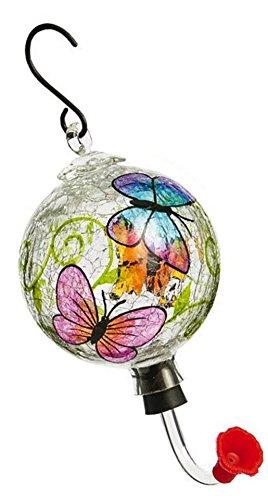 Evergreen Painted Glass Hummingbird Feeder with Crackle Effect, Assorted Hummingbird Feeder (Single Feeder) (Feeder Crackle Hummingbird)