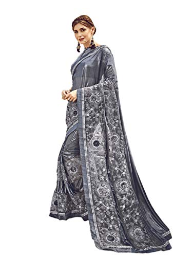 KIMANA Indian Women Designer Ethnic Wedding Lycra &Net Party Wear Saree Blouse S7735 Steel Grey