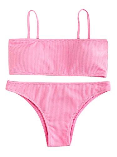 SweatyRocks Women's Sexy Bikini Set Removable Strap Wrap Padding Ribbed Swimwear Set Pink -