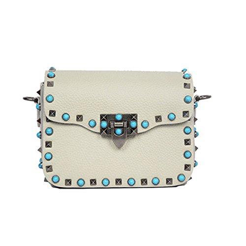 Leather Bag National Shoulder Messenger Women onesize Rivet Wide Ribbon Sbymx Wind Color pearlwhite pTdxqdR