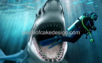 1/4 Sheet ~ Shark Attacking Scuba Diver Birthday ~ Edible Cake/Cupcake Topper!!!