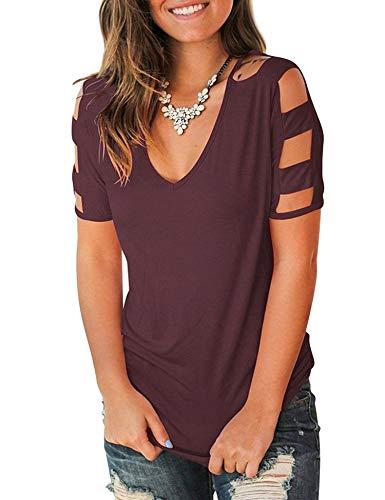 (Uniboutique Womens Fashion Cut Out Cold Shoulder Deep V-neck Short Sleeve T Shirts)