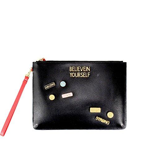 Women's Accessories Pinko Schiamazzo Black Envelope With Pins Spring Summer 2018 by Pinko