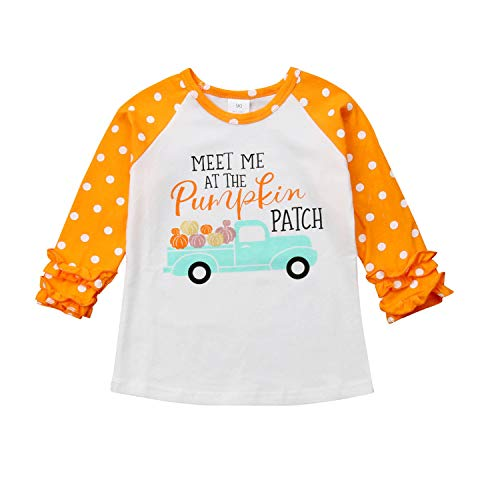 MAMOWEAR Halloween Baby Kids Girl Pumpkin Car Print Ruffles Long Sleeve T-Shirt Tops Outfits (Orange, 1T)]()