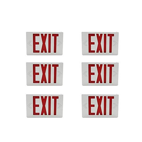 (HYD-Parts 6 Packs Red Indoor LED Exit Sign Emergency Light,UL Certified - Hardwired Red LED Exit Sign, Battery Backup - Red Emergency Fire Safety Lights)