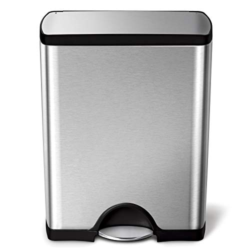 simplehuman 50 Liter / 13.2 Gallon  Stainless Steel Rectangular Kitchen Step Trash Can, Brushed Stainless Steel (Things Made From Waste Material At Home)