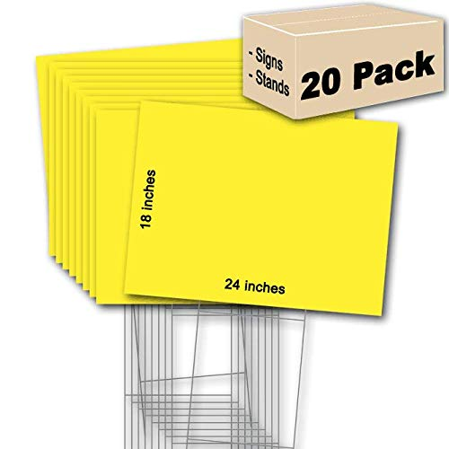 - 20 Yellow Blank Signs 18''x24'' & 20 Double H 10''x30'' Wire-Stakes