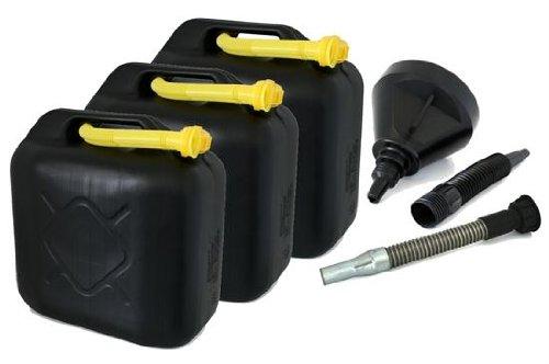 AD Tuning GmbH & Co. KG Kunststoff Kanister, 3er Set, Volumen: je 20 Liter (Lieferung ohne Inhalt). Inkl. Ausgieser - Schnorchel + Trichter.